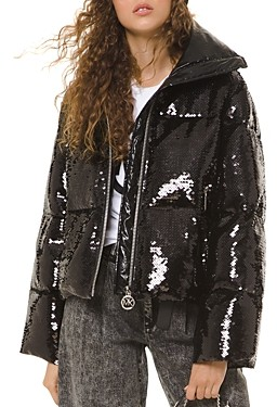 MICHAEL Michael Kors Quilted Sequin-Embellished Puffer Jacket