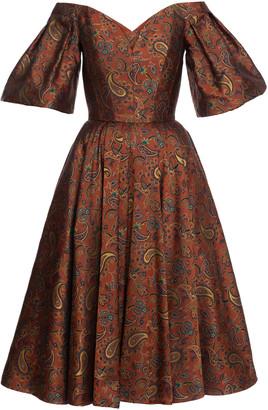 Lena Hoschek Treasure Silk Blend Off-The-Shoulder Midi Dress