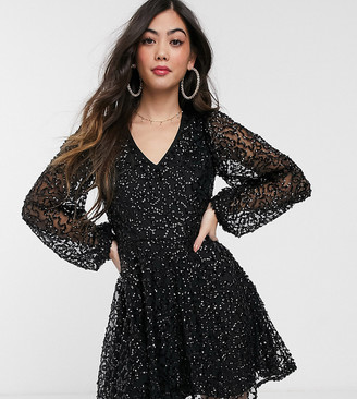 Miss Selfridge Petite embellished skater dress in black