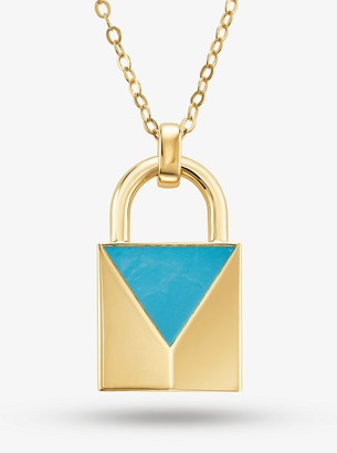 Michael Kors 14K Gold-Plated Sterling Silver Turquoise Large Lock Necklace