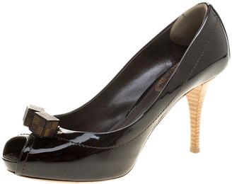 Louis Vuitton Black Vernis Leather Dice Peep Toe Platform Pumps Size 39