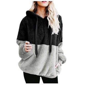 Willtop Womens Sweatshirt Fuzzy Casual Loose Velvet Sweater Winter Long Sleeve Warm Baggy Teddy Fluffy Fleece Flannel Zip Hooded Top Soft Sherpa Hoodies Drawstring Pullover with Pockets Jumpers Outwear Coat