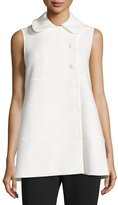 Co Tiered Three-Button Long Vest, White