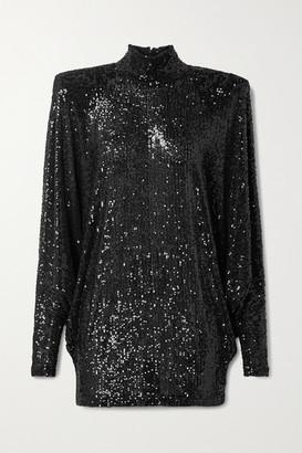 Naeem Khan Oversized Sequined Knitted Turtleneck Top - Black
