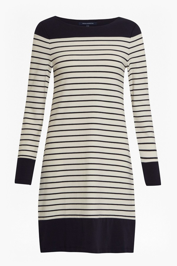 French Connection Tim Tim Round Neck Striped Dress