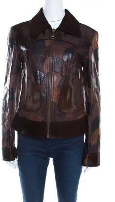 Dolce & Gabbana Brown Calfskin Circular Patchwork Leather Zip Front Jacket M