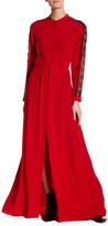 The Kooples Long Sleeve Button Up Silk Maxi Dress