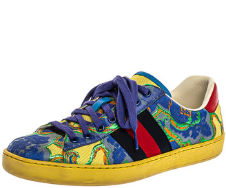 Gucci Multicolor Canvas Printed Ace Sneakers Size 37