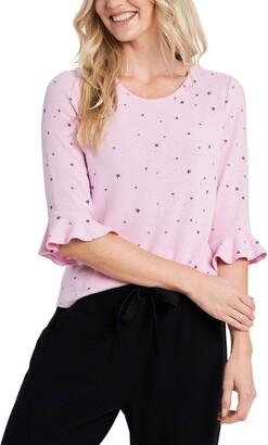 CeCe Ruffle Sleeve Star Knit Top