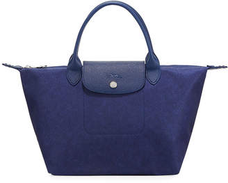 Longchamp Le Pliage Neo Denim-Print Small Top-Handle Bag