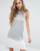 Noisy May Sleeveless Sweat Dress with Shirt Hem