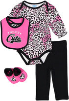 Bon Bebe Black & Pink Leopard Print Bodysuit Set - Infant
