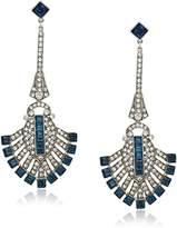 "Ben-Amun Jewelry ""Deco"" Swarovski Crystal Sapphire Deco Fan For Bridal Wedding Anniversary Drop Earrings"