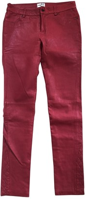 American Retro Red Leather Trousers