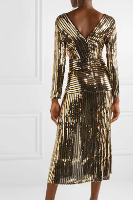 Rixo Emmy Striped Sequined Chiffon Midi Dress - Black