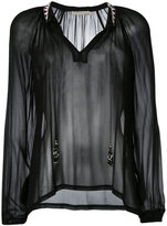 Amen sheer open neck blouse - women - Viscose/glass/metal - 40