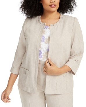 Alfred Dunner Plus Size Nantucket Open-Front Jacket