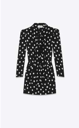Saint Laurent Scarf-Collar Dress In Sable Printed With Polka Dots