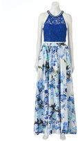 Speechless Juniors' Lace Floral Prom Top & Maxi Skirt Set
