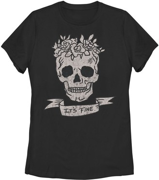 Juniors' Floral Headdress Skull It's Fine Banner Graphic Tee