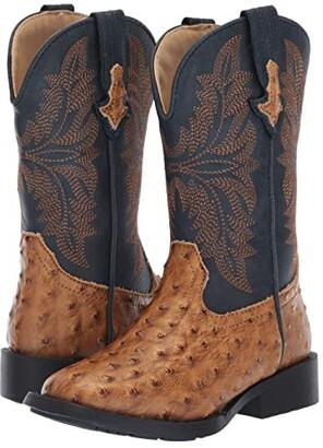 Roper Cowboy Cool (Toddler/Little Kid) (Tan Faux Ostrich Vamp/Navy Shaft) Cowboy Boots