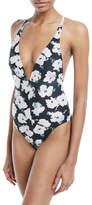 Proenza Schouler Floral-Print Plunge One-Piece Swimsuit w/ Crisscross Back