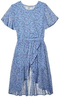 Lucky Brand Kids Winnie Walk Thru Romper Dress (Big Kids) (Silver/Lake Blue) Girl's Blouse