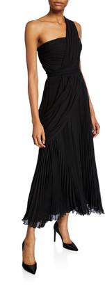 Giambattista Valli One-Shoulder Pleated Chiffon Gown