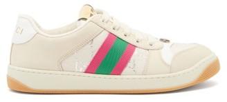 Gucci Screener Gg-monogram Leather And Lame Trainers - Cream Multi