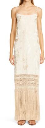 Johanna Ortiz Floral Embroidered Fringe Hem Silk Maxi Dress