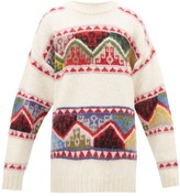 Miu Miu Fair-isle Alpaca Sweater - Womens - Beige Multi