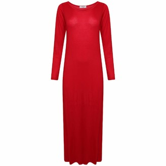 IDEAL ONLINE New Womens Plus Size Jersey Long Sleeve Maxi Dress Scoop Neck Stretch Maxi 8-26 (XL 16/18