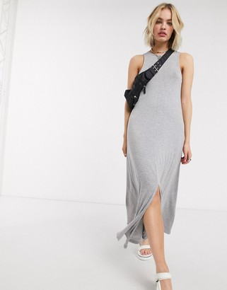 Noisy May jersey maxi dress with split front in grey
