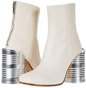 MM6 MAISON MARGIELA Tin Can Detail Heeled Boot (White) Women's Shoes