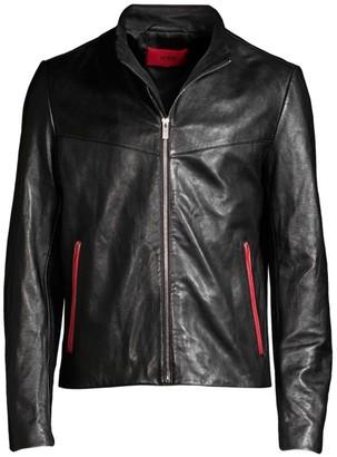 HUGO Lyes Leather Moto Jacket