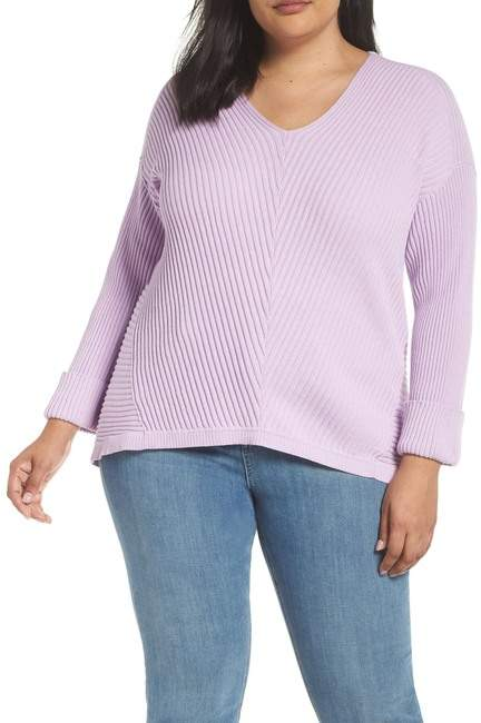 Cuff Sleeve Ribbed Sweater (Plus Size)