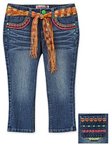 Squeeze® Girls' 7-16 Denim Peace And Hearts Capris With Neon Stitching