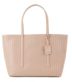 BOSS Leather shopper bag with lasered monograms