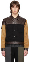 GR-Uniforma Black and Brown Faux-Leather Denim Jacket