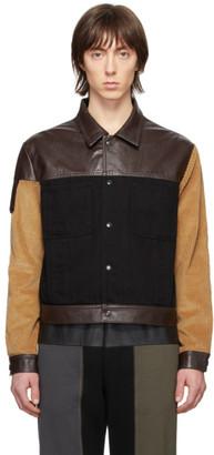 Gr Uniforma GR-Uniforma Black and Brown Faux-Leather Denim Jacket