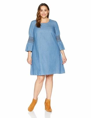 Junarose Women's Plus Size Haps Three Quarter Sleeve Above Knee Dress