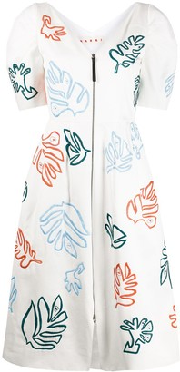 Marni leaf embroidered zip front dress