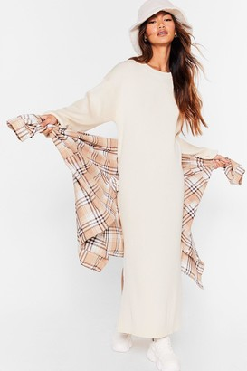 Nasty Gal Womens No Slit Knitted Balloon Sleeve Midi Dress - White - 6