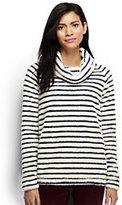 Classic Women's Tall Plush Fleece Pullover-Ivory/Midnight Indigo Stripe