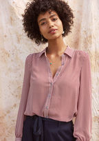 ModCloth Classic Striped Button-Up Top in Wine in 3X