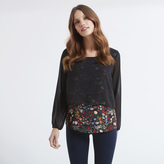 Apricot Black Garden Floral Print Layer Blouse