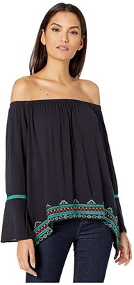 Wrangler Bell Sleeve with Embroidery (Black) Women's Clothing