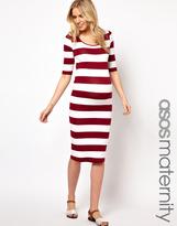 Asos Exclusive Body-Conscious Midi Dress In Wide Stripe
