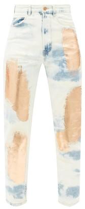 Germanier - Metallic-paint High-rise Slim-leg Jeans - Denim Multi