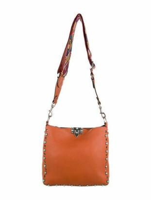 Valentino Leather Rockstud Hobo Orange